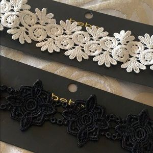 Accessories - BEBE lace choker set of 2 black and white